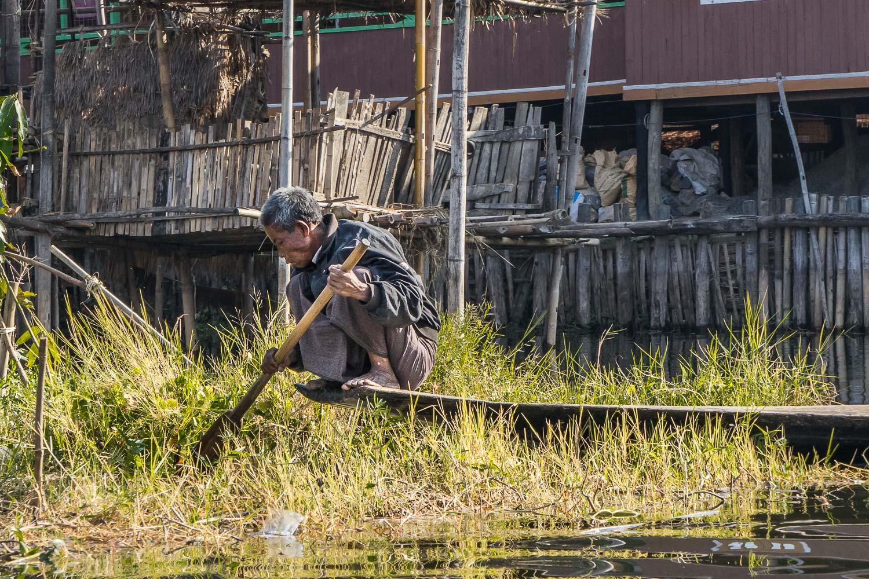 Inle Village Man Paddling