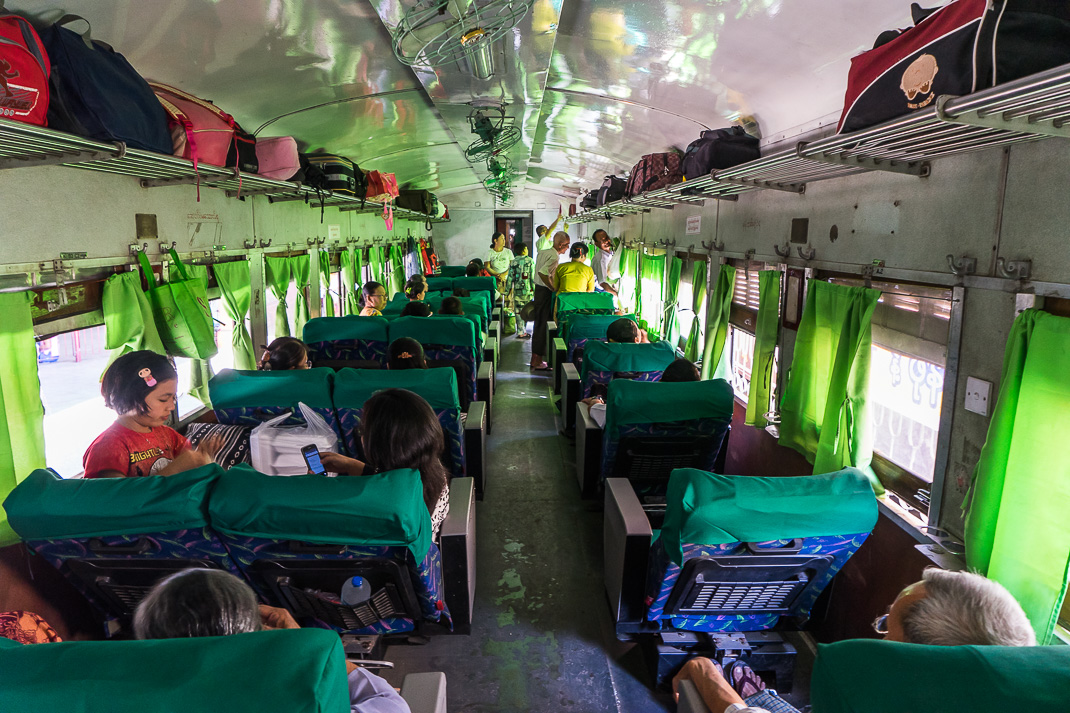 Traveling Myanmar Train Interior