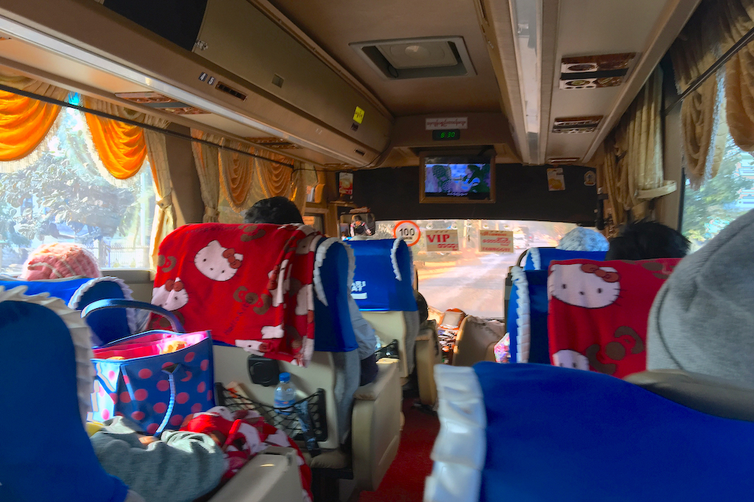 Traveling Myanmar Bus Interior