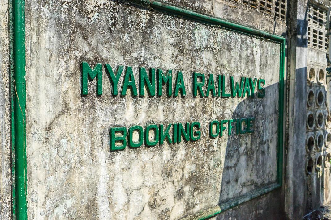 Myanmar Train Office Sign